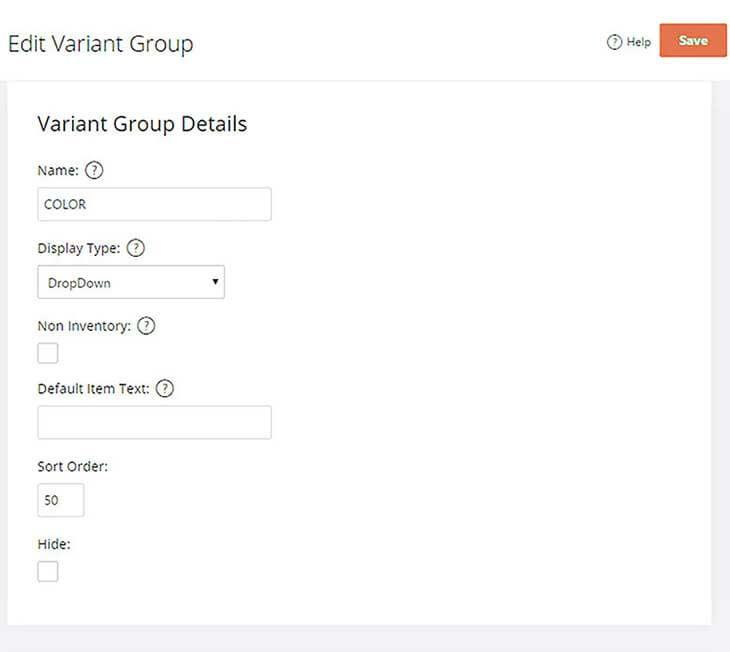 Variant Groups Details